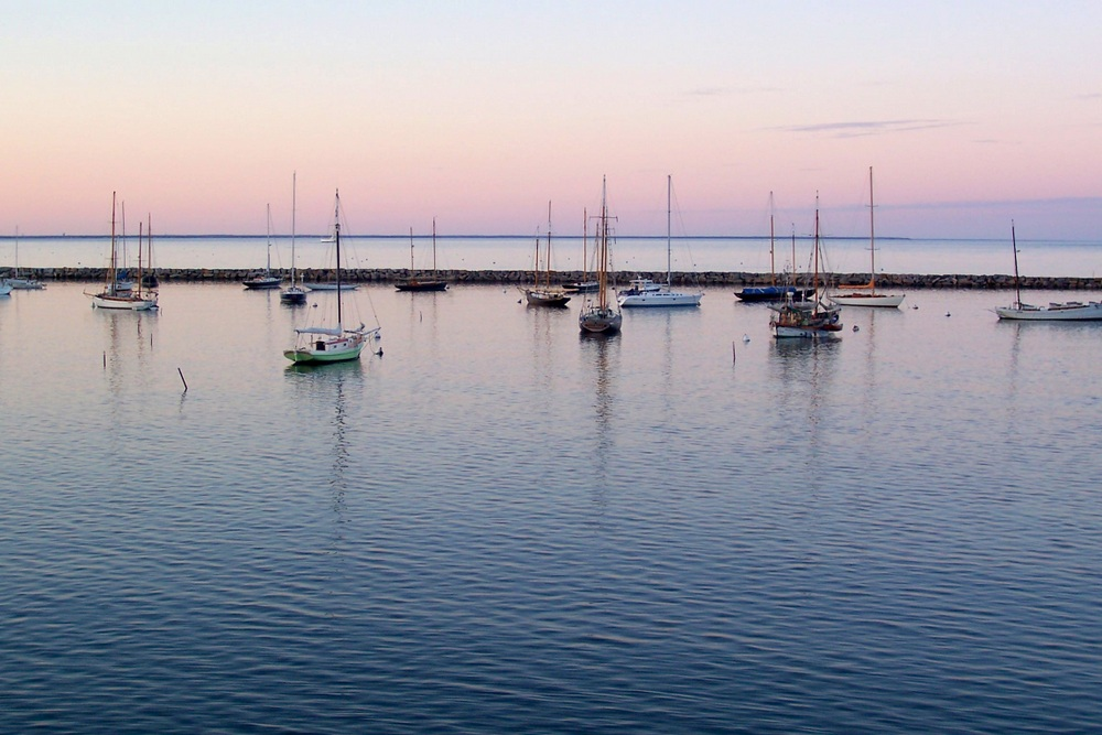 The view of the Vineyard Haven harbor from the ferry.