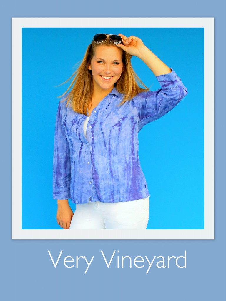Very Vineyard's new Method Blouse in our Purple Tie Dy Print. Both new for 2014