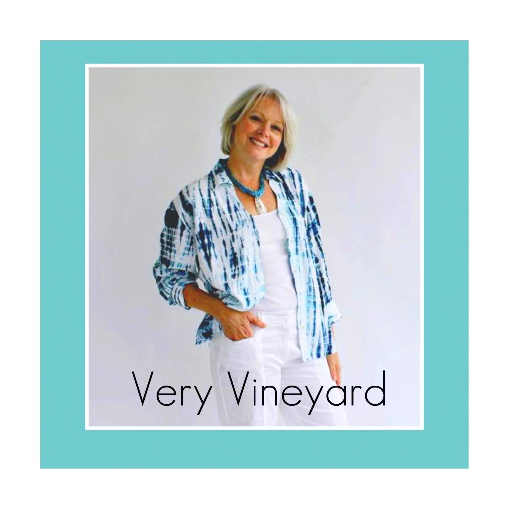 Cool and casual best describes this Very Vineyard Top in Blue Tie Dye. Our Method Blouse is shown here paired with white slacks and a summer tank top.