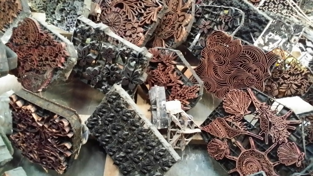 These are the Indonsian Copper Tjaps - or Batik Stamps that are used to create to pattern on the fabrics.
