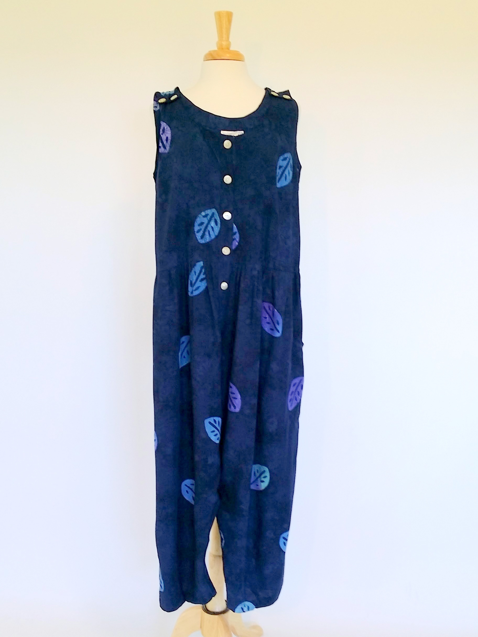 Anna Jumpsuit in Navy Leaf