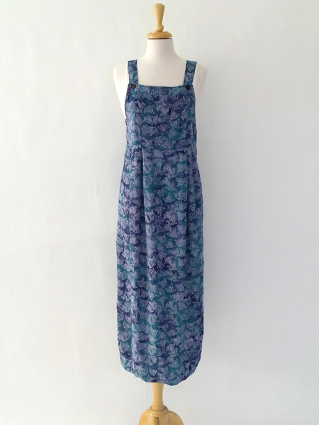 Apron Dress in Purple Fan Flower