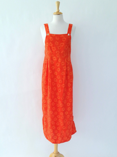 Apron Dress in Orange Daisy