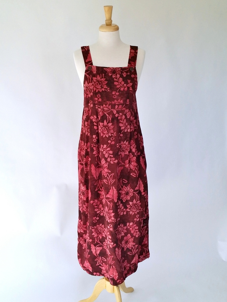 Apron Dress in Claret Waterlilly