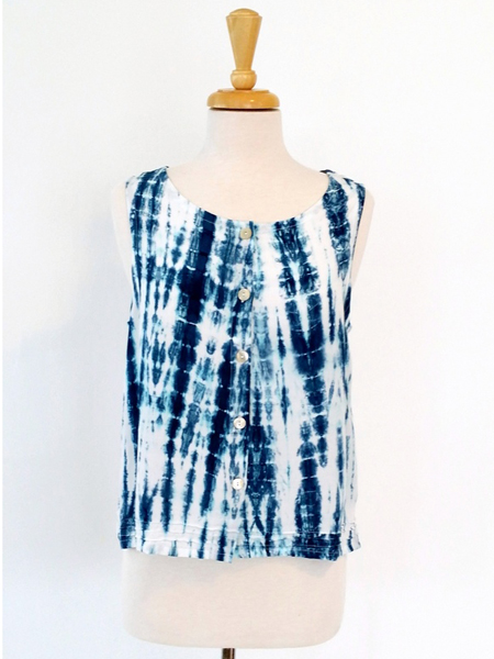 Aurelia Top in Blue Tie Dye