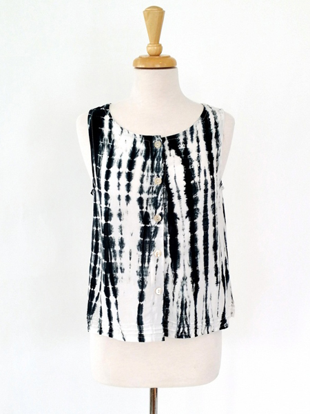 Aurelia Top in Black Tie Dye