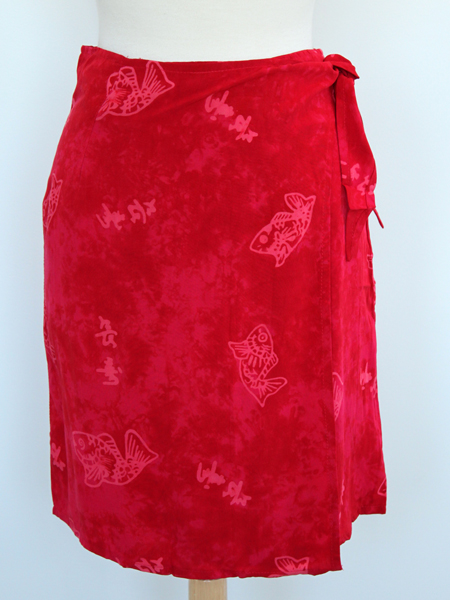 Jane Skirt in Red Asian Fish Print
