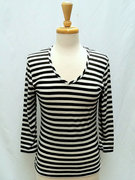 Fern 3/4 Sleeve in Charcoal Stripe