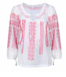 Peasant Blouse in Pink and White