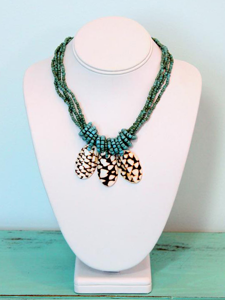 Triple Shell Multi Strand Necklace