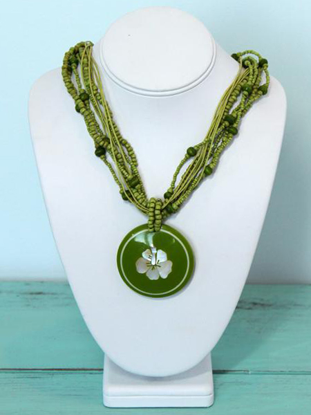 Multi Strand Bead Necklace with Flower Inlaid Shell Pendant