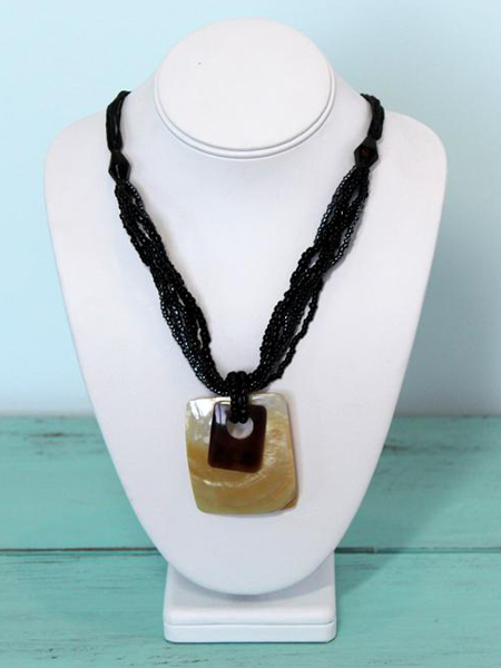 Large Layered Rectangular Shell and Bead Necklace