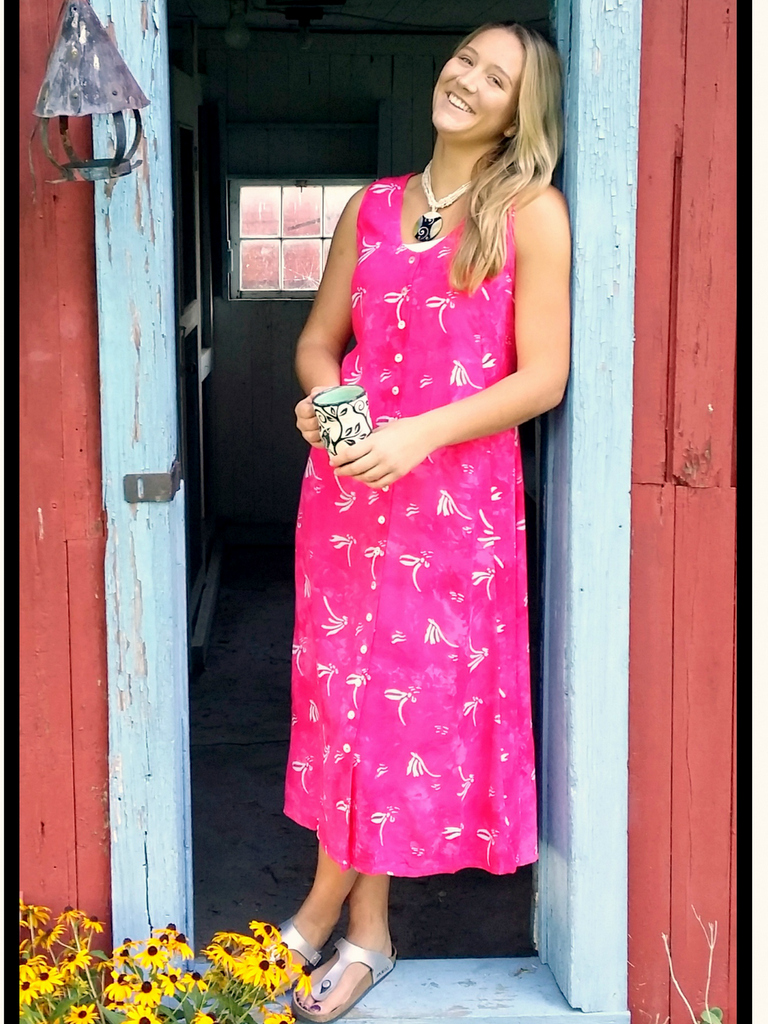 Long Dress Italia in Pink Dragonfly