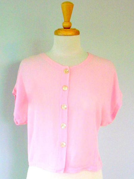 Button Top in Pink Crinkle