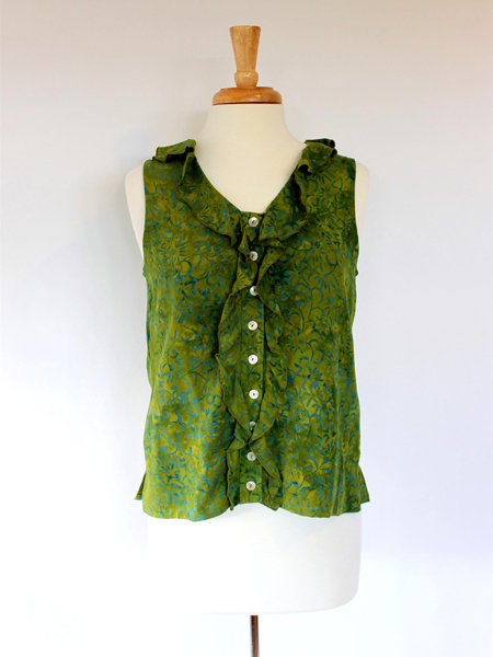 Ruffle Top in Green Lotus
