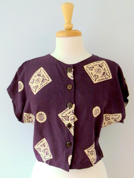 Button Top in Plum Medallions