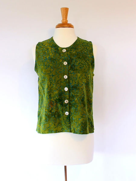 Patch Vest in Green Lotus