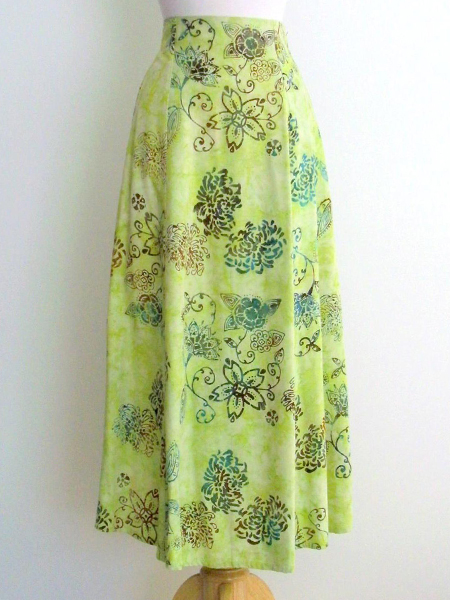 Long Flair Skirt in Key Lime