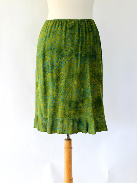 Short Ruffle Skirt in Green Lotus