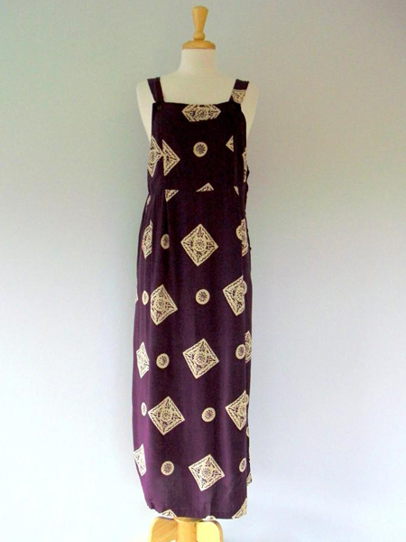 Apron Dress in Plum Medallions