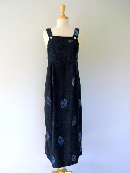 Apron Dress in Navy Leaf